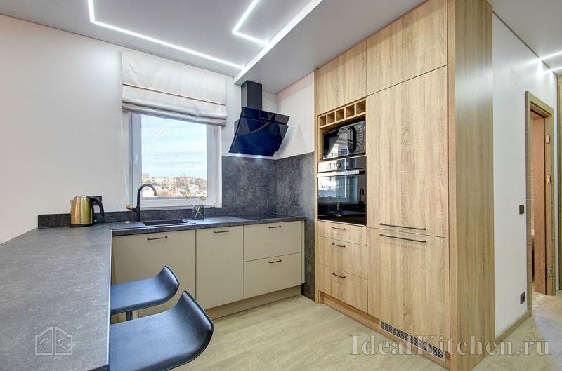 Дизайн кухни без верхних навесных шкафов: 120 идей + примеры хранения