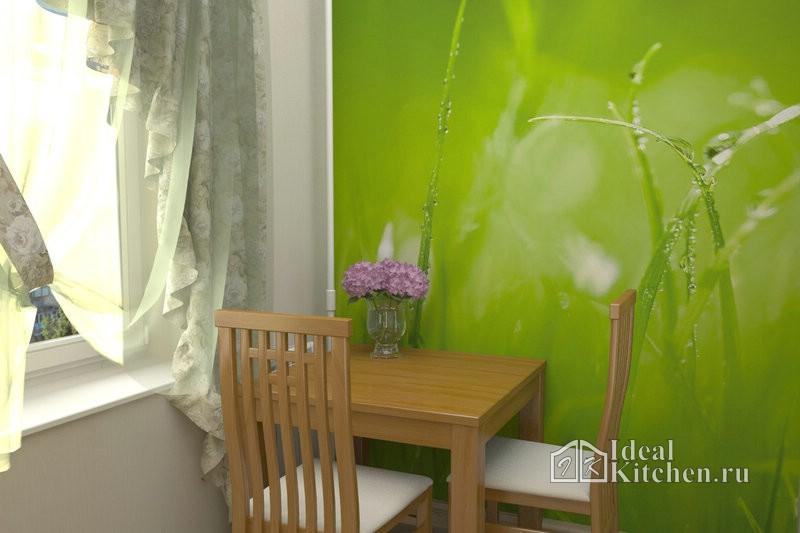 трава с росой на фотообоях на маленькой кухне