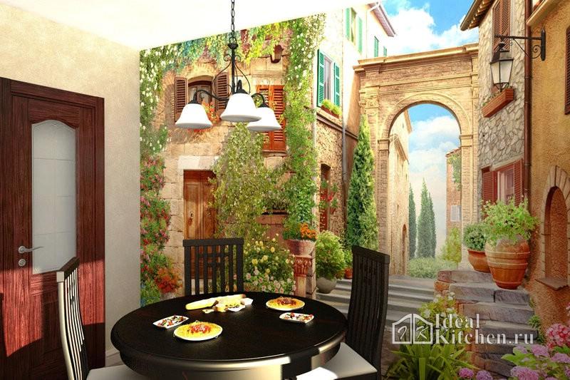 фотообои с видом старого города для кухни в классическом стиле