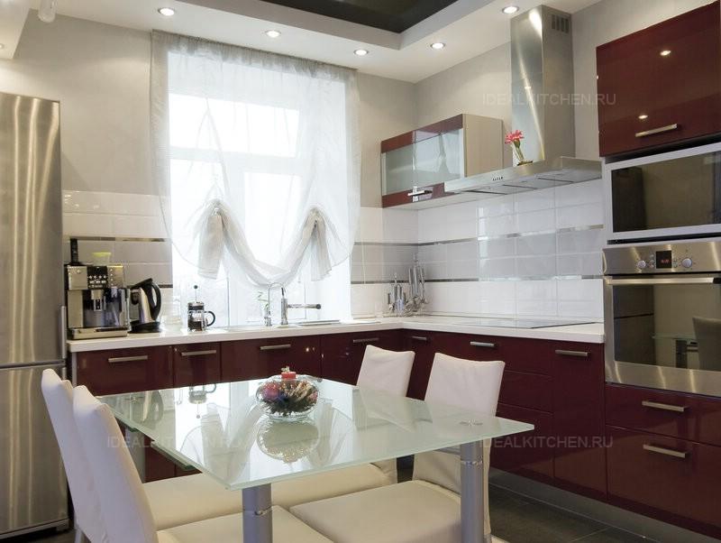 Бордовые кухни в интерьере фото