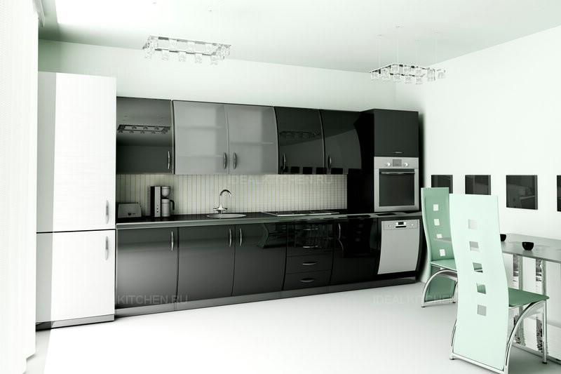 Интерьер кухни черного цвета фото