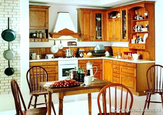 дизайн угловой кухни в деревенском стиле