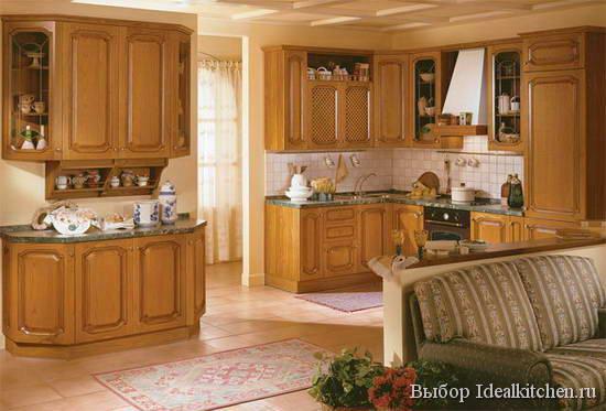 классический интерьер кухни-гостиной - фото