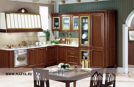 угловой кухонный гарнитур классика