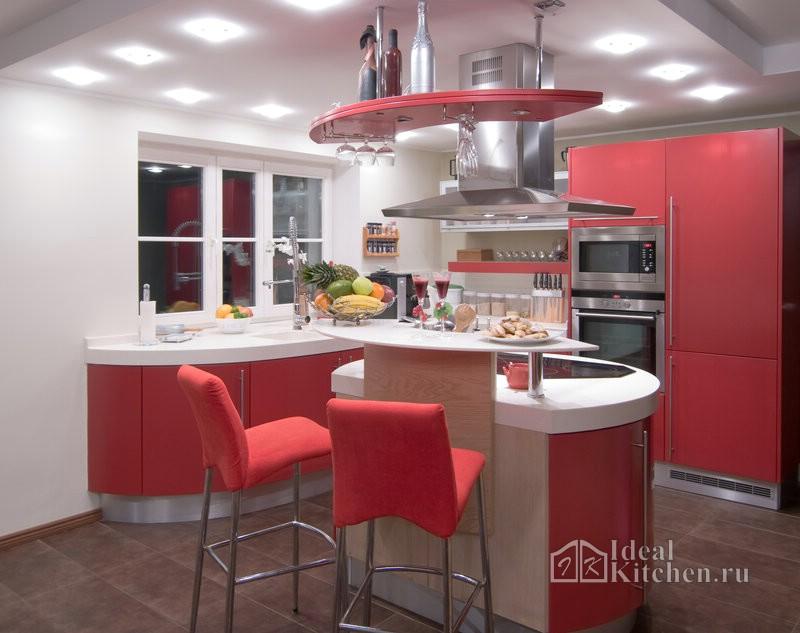 дизайн красной кухни-студии в стиле хай-тек с островом и барной стойкой