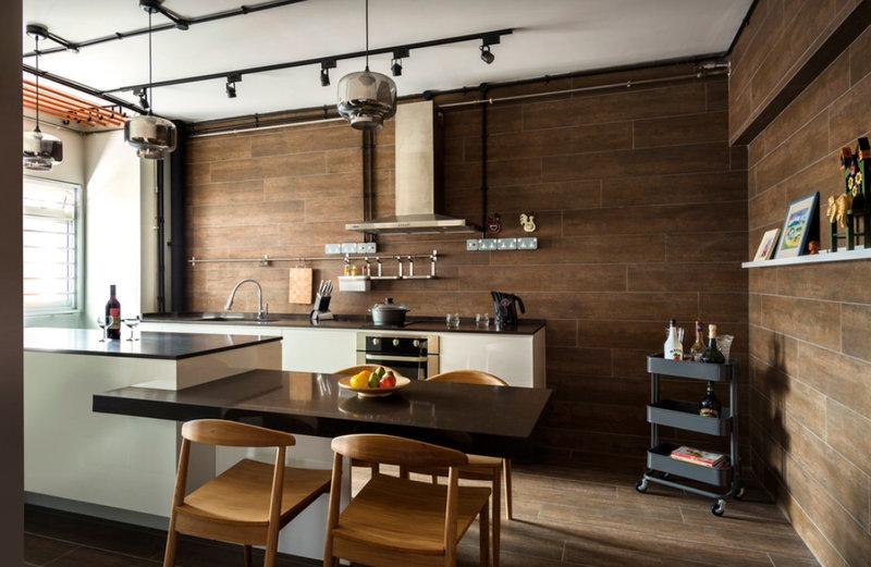 хай-тек кухня без навесных шкафов с плиткой на стенах