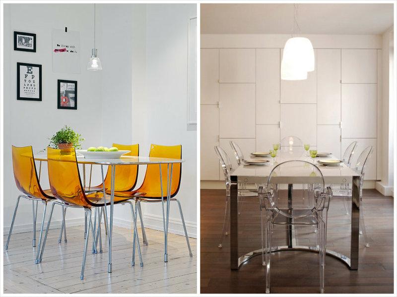 цветные и прозрачные стулья из пластика