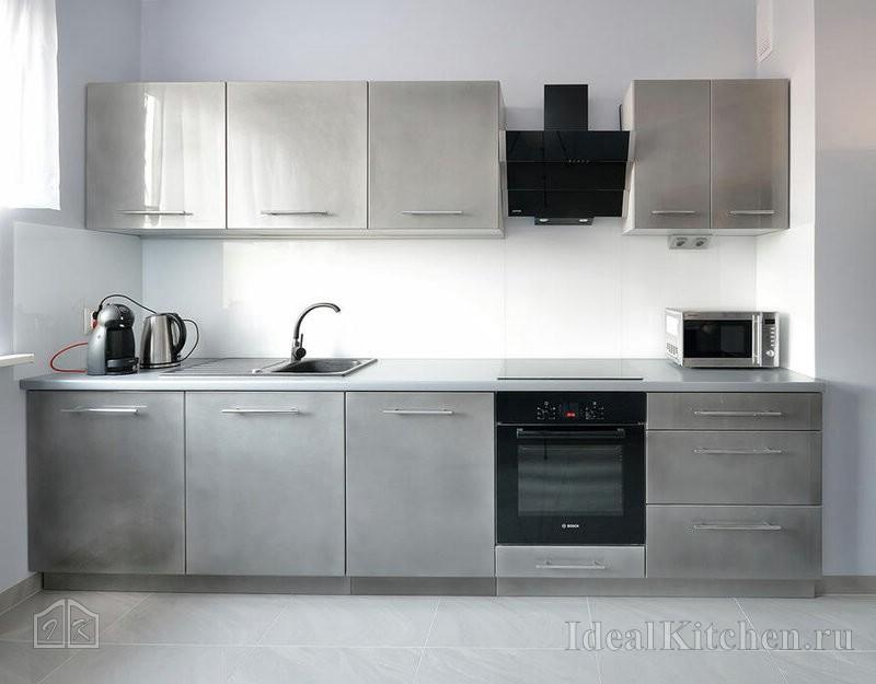 фасады из нержавеющей стали в кухне хайтек