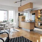 Зонирование кухни-гостиной с помощью полуострова