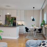 кухня-столовая-гостиная в скандинавском стиле