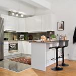 дизайн угловой кухни с полуостровом-барной стойкой