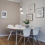 серые стены в гостиной-столовой в скандинавском стиле