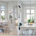 белые столы с круглой и прямоугольной столешницей