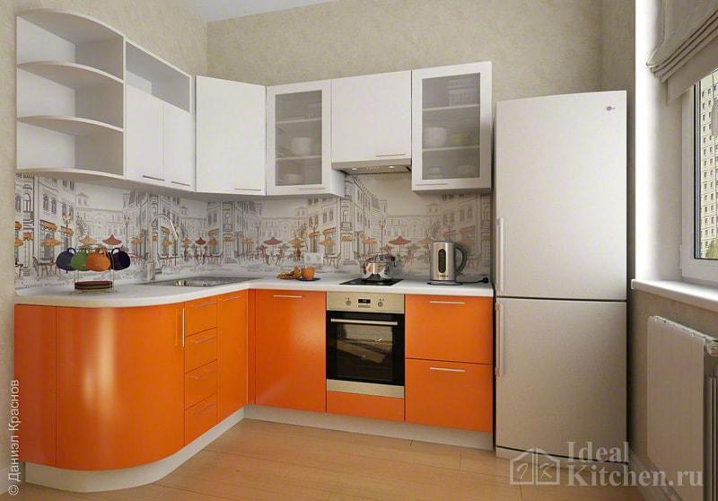 угловая оранжевая кухня в интерьере
