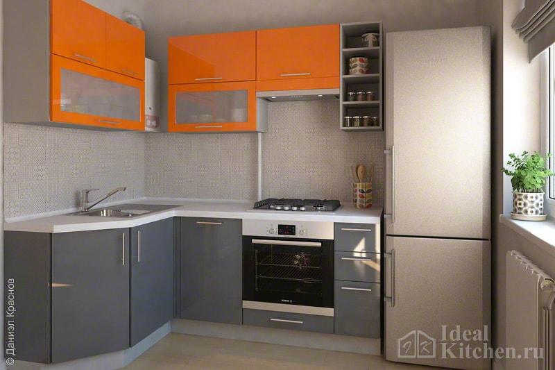 маленькая угловая серо-оранжевая кухня с газовой колонкой в хрущевке