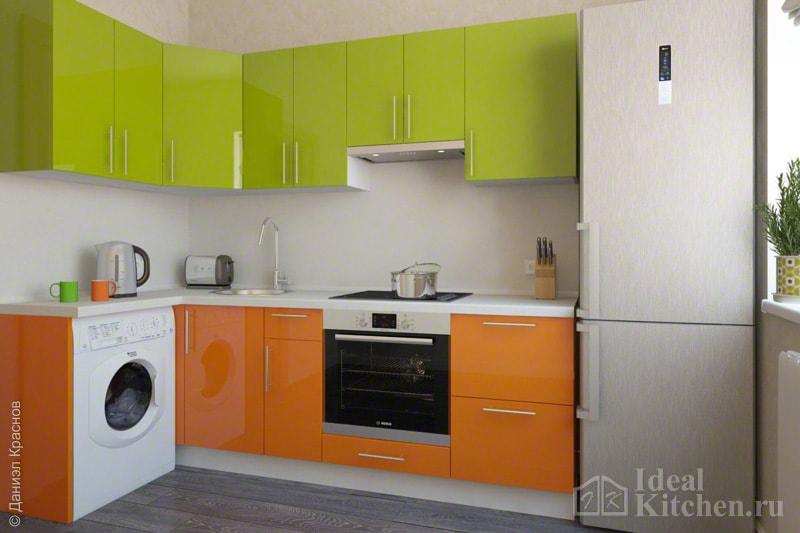 кухня модерн с оранжево-салатовыми фасадами
