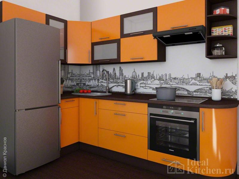 сочетание оранжевого с коричневым в дизайне кухни-студии