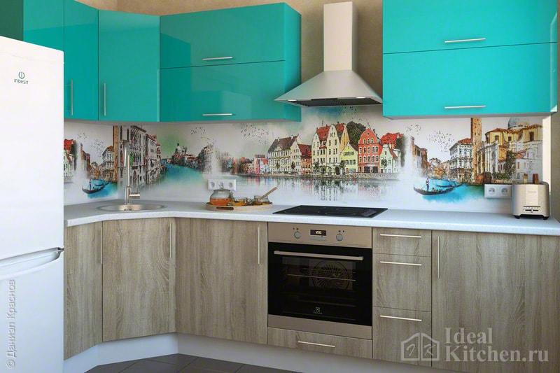 кухня модерн с бирюзовыми фасадами и скинали