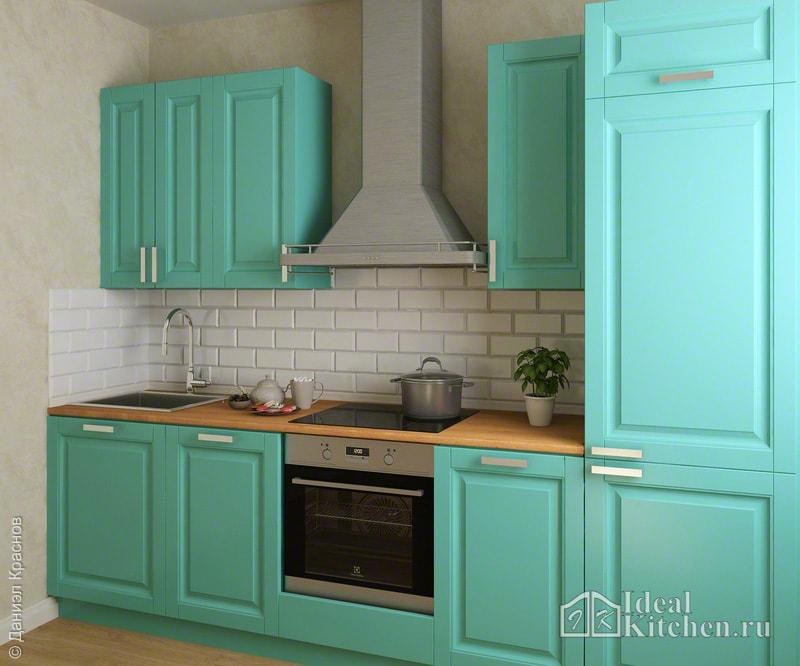 бирюзовый кухонный гарнитур в интерьере маленькой кухни