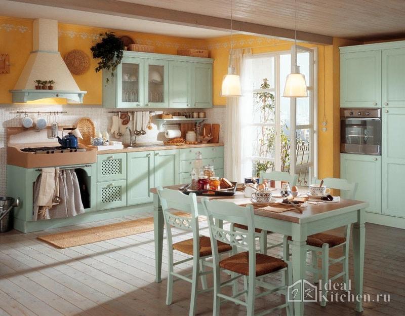 кухня прованс в бирюзовых тонах