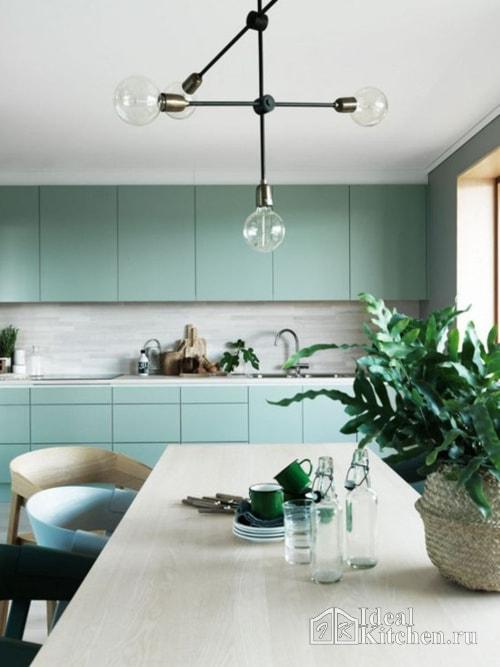кухня в стиле минимализм бирюзового цвета
