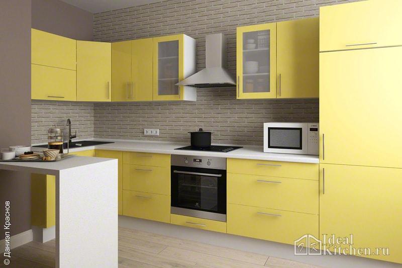 фото кухни с барной стойкой на 9 кв метрах в современном интерьере