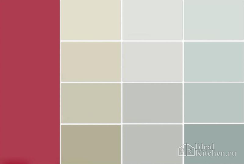цвета обоев, подходящие для красной кухни
