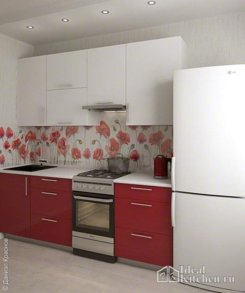 бело-бордовая кухня эконом-класса