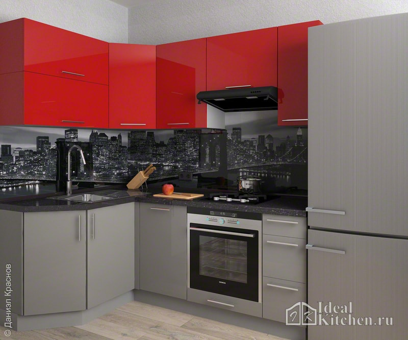 пример дизайна малогабаритной кухни с красными и серыми фасадами