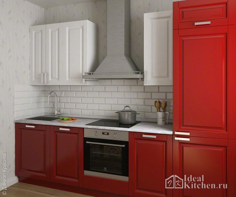 классический дизайн кухни с красным гарнитуром