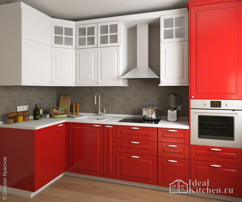 на фото - дизайн красно-белой кухни 9 кв. метров из МДФ