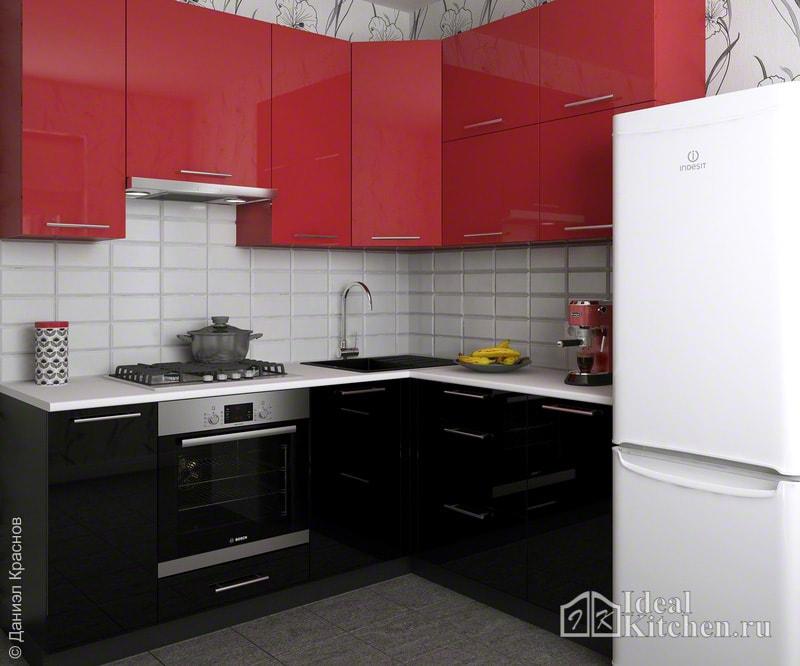 фото черно-красной маленькой угловой кухни с обоями в хрущевке