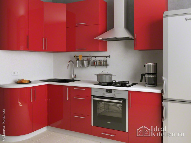 фото красной кухни в хрущевке