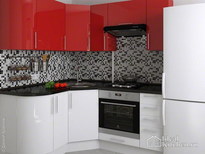 глянцевая кухня с красным верхом и белым низом