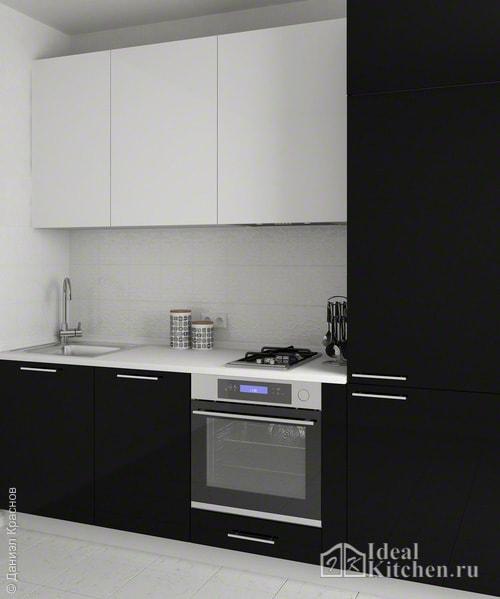 маленькая прямая черно-белая кухня 6 кв. м в хрущевке