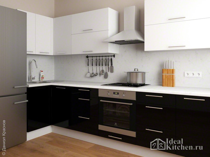 на фото - стильный дизайн черно-белой кухни 11 кв. м в современном стиле
