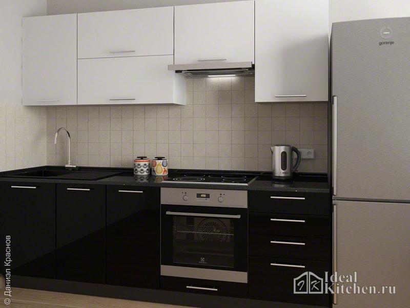 кухня с бежевой плиткой